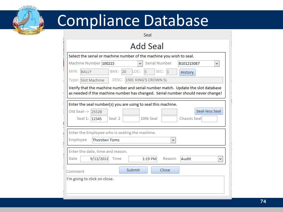 Compliance Database 74