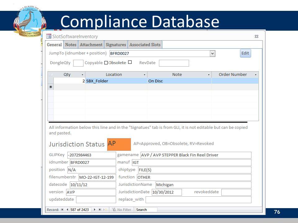 Compliance Database 76