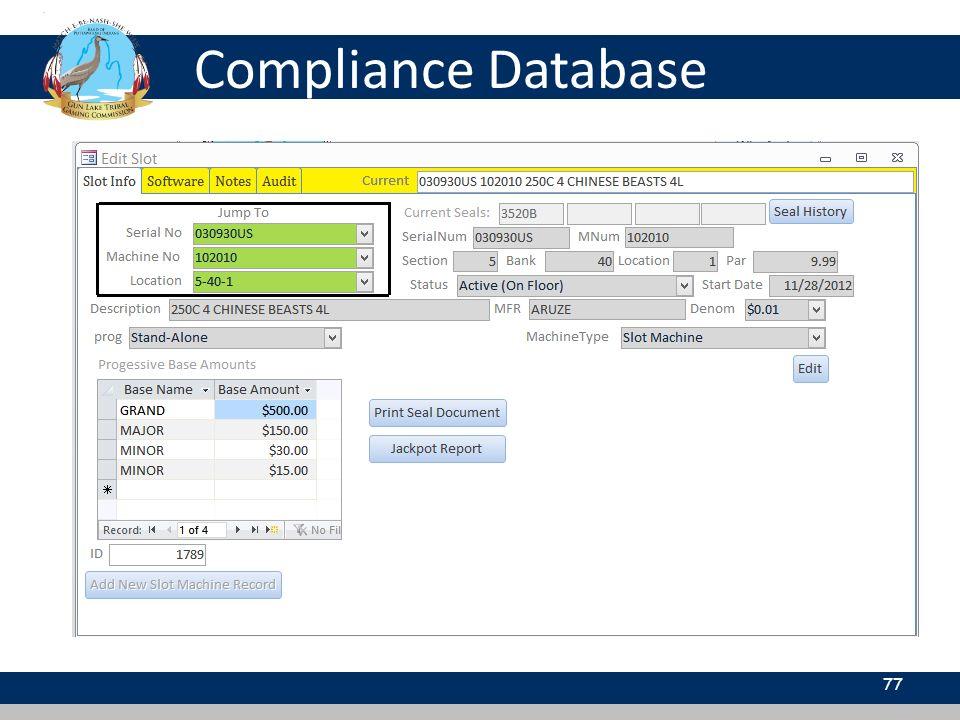 Compliance Database 77