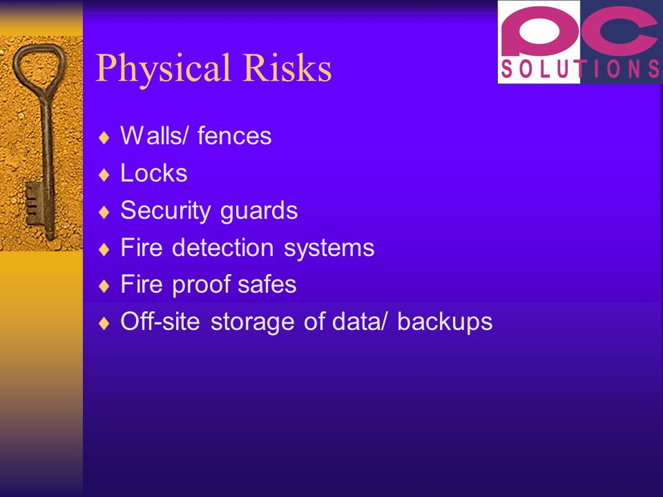 Physical Risks Walls/ fences Locks Security guards Fire detection systems Fire proof safes Off-site storage of data/ backups