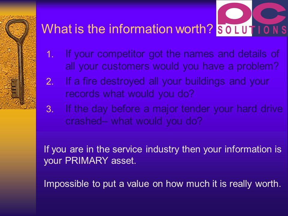 What is the information worth. 1.