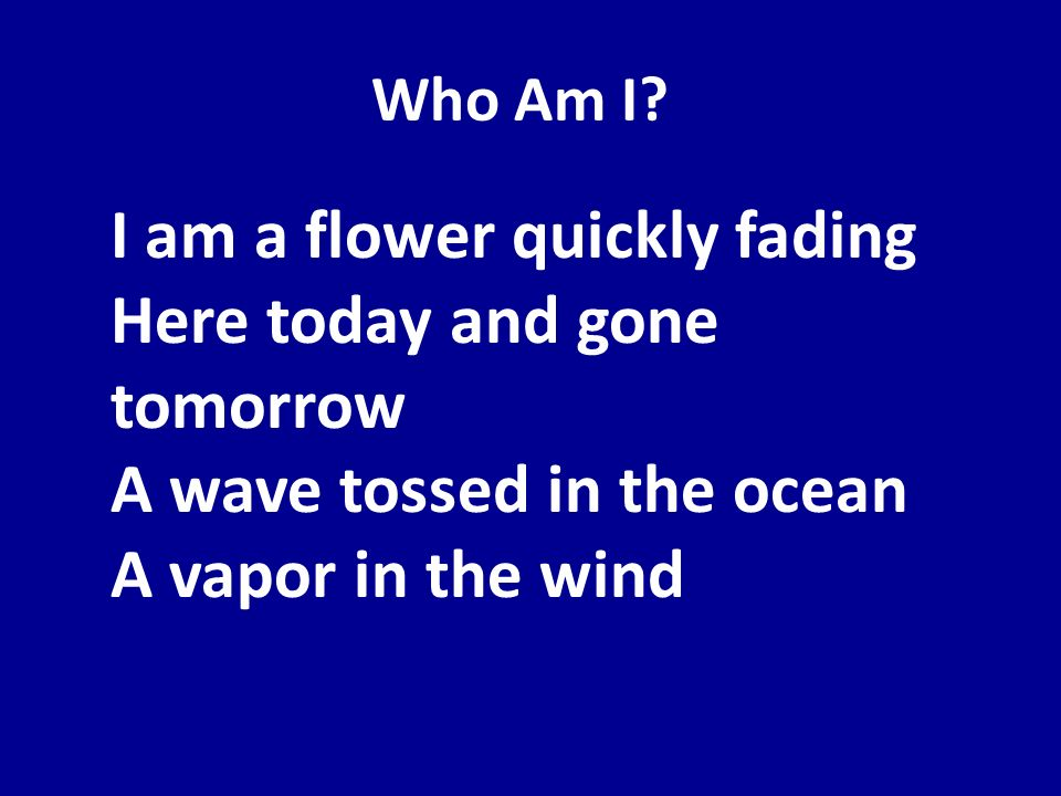 Who Am I? I am a flower quickly fading Here today and gone tomorrow A wave tossed in the ocean A vapor in the wind