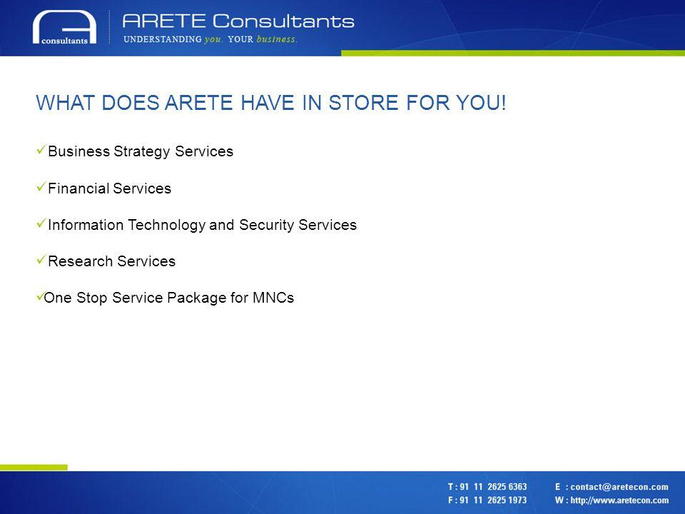 CONTACT US Arete Consultants Pvt.Ltd. INDIA 302, South Ex.