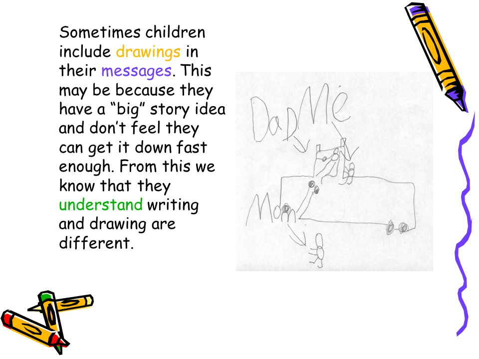 Sometimes children include drawings in their messages. This may be because they have a big story idea and dont feel they can get it down fast enough.