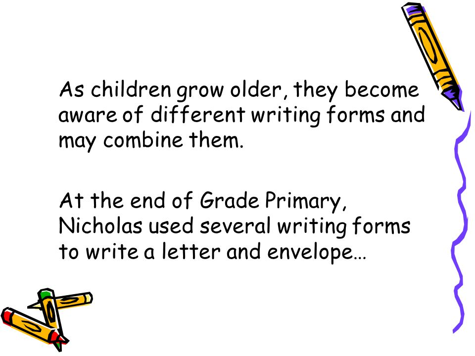 As children grow older, they become aware of different writing forms and may combine them. At the end of Grade Primary, Nicholas used several writing