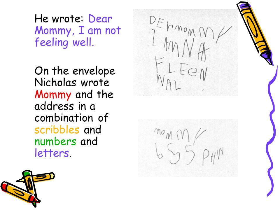 He wrote: Dear Mommy, I am not feeling well. On the envelope Nicholas wrote Mommy and the address in a combination of scribbles and numbers and letter