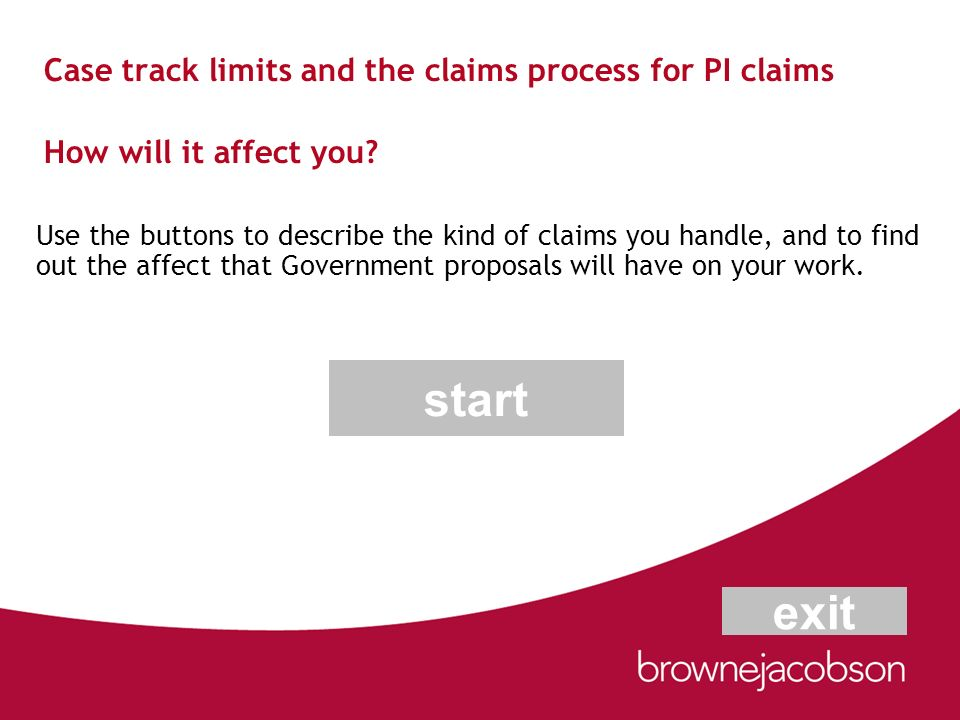 Case track limits and the claims process for PI claims How will it affect you? Use the buttons to describe the kind of claims you handle, and to find