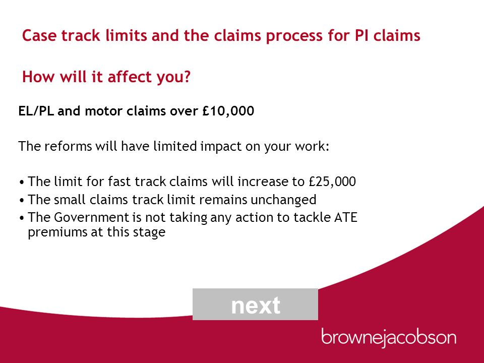 Case track limits and the claims process for PI claims How will it affect you? EL/PL and motor claims over £10,000 The reforms will have limited impac