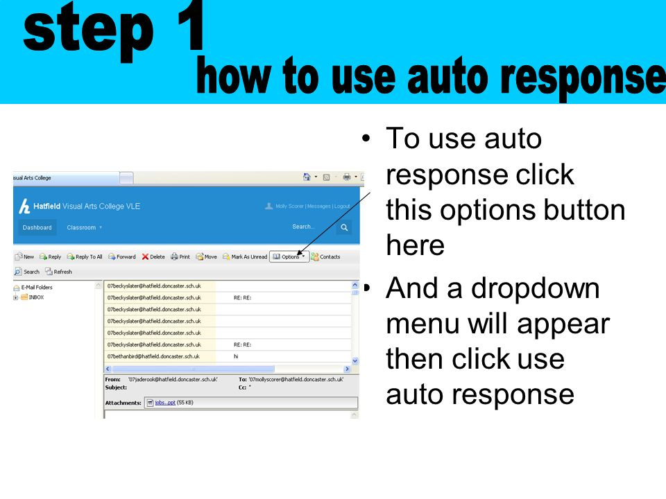 To use auto response click this options button here And a dropdown menu will appear then click use auto response