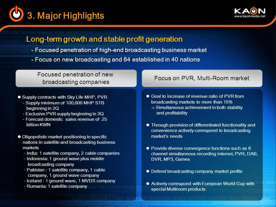 Continued growth with the acceleration of digital broadcasting switch over Further growth due to digital convergence 2-2.
