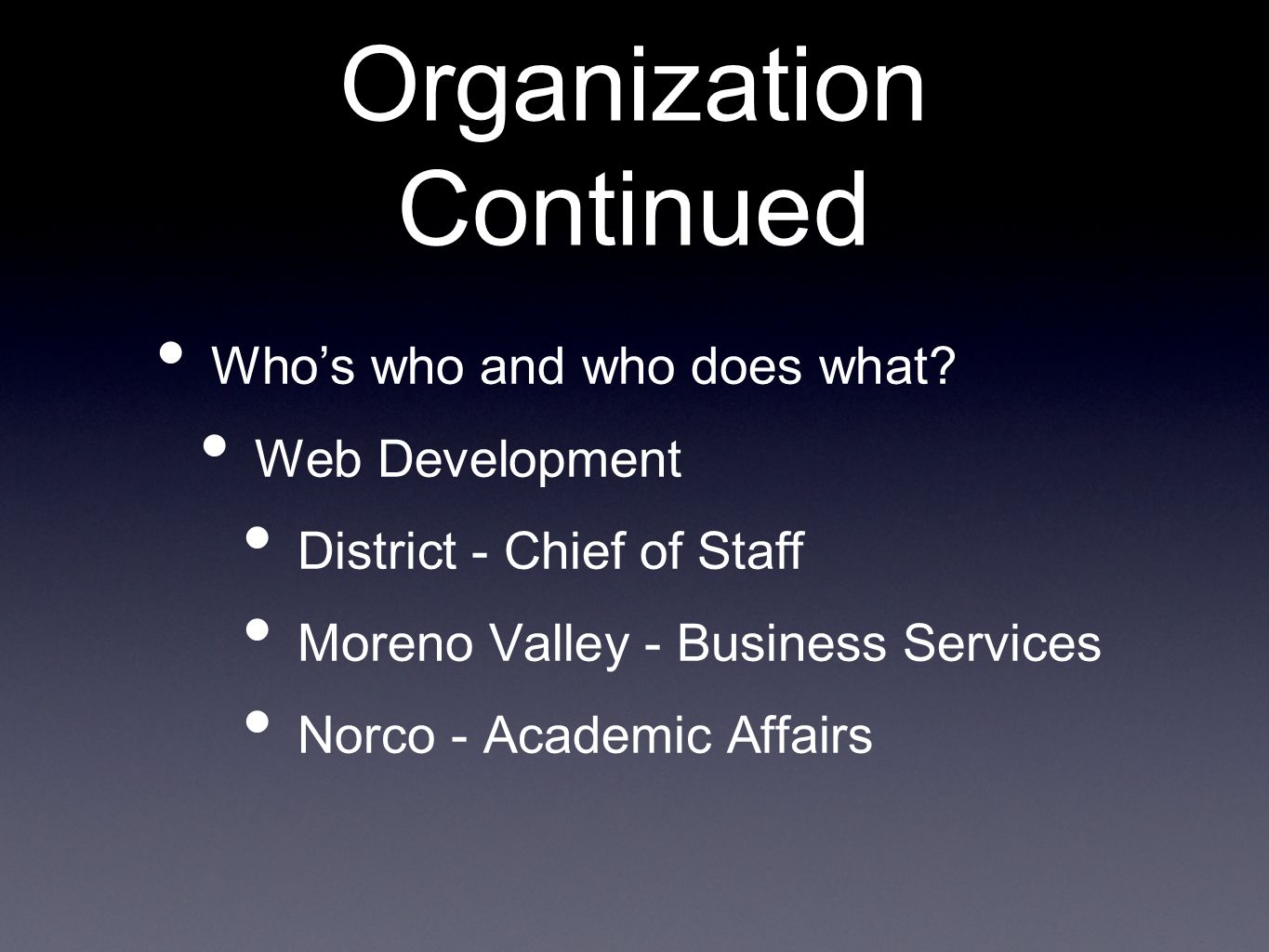 Organization Continued Whos who and who does what.
