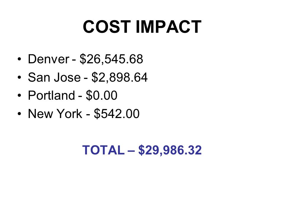 COST IMPACT Denver - $26,545.68 San Jose - $2,898.64 Portland - $0.00 New York - $542.00 TOTAL – $29,986.32