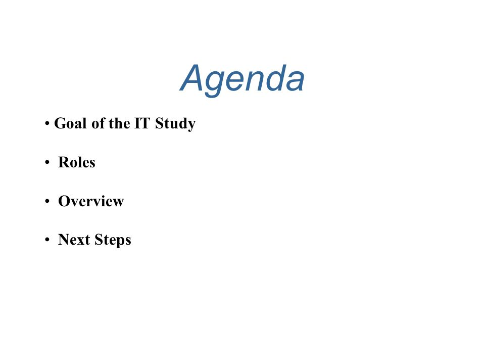 Agenda Goal of the IT Study Roles Overview Next Steps