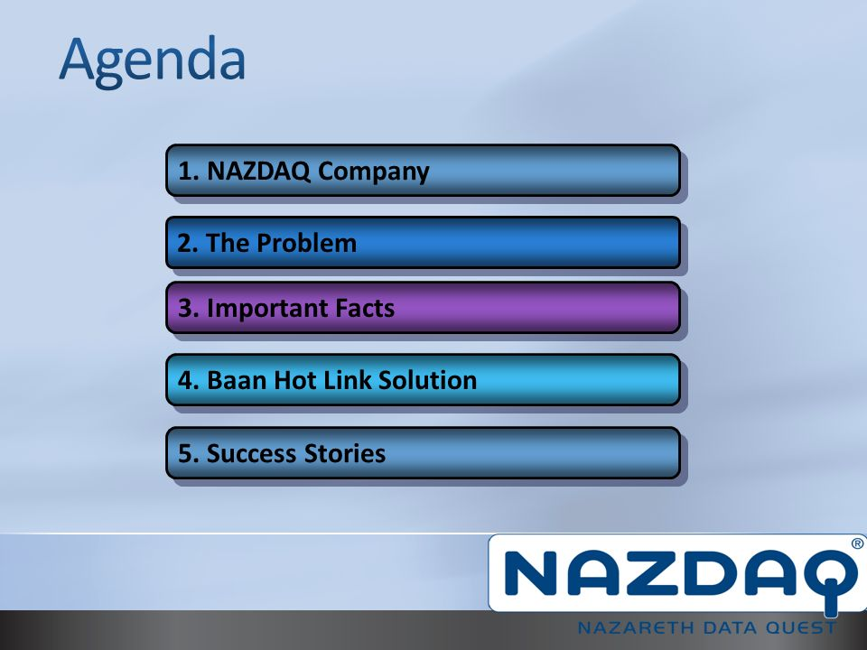 NAZDAQ is a provider of Add-ons for Baan and Infor ERP Ln.
