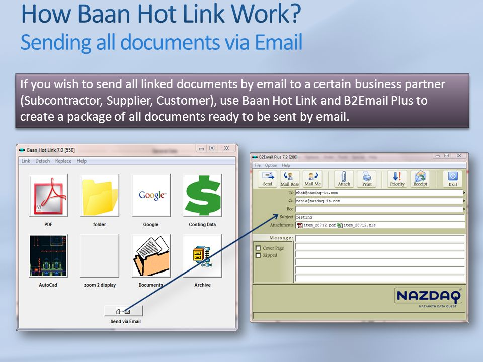 If you wish to send all linked documents by  to a certain business partner (Subcontractor, Supplier, Customer), use Baan Hot Link and B2 Plus to create a package of all documents ready to be sent by  .