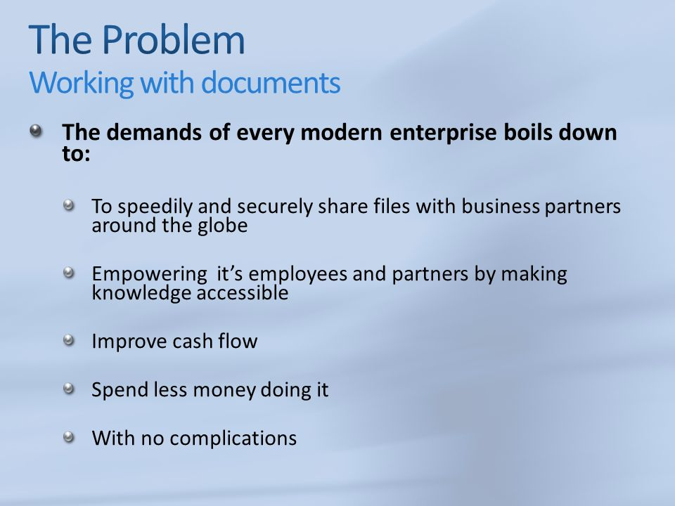 The demands of every modern enterprise boils down to: To speedily and securely share files with business partners around the globe Empowering its empl
