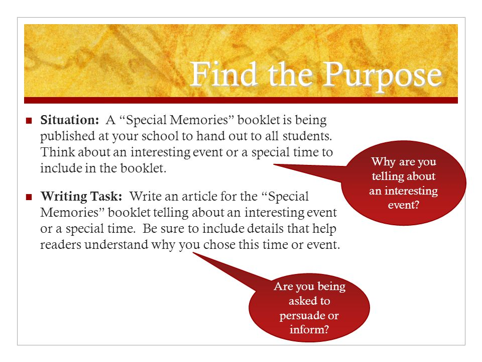 Find the Purpose Situation: A Special Memories booklet is being published at your school to hand out to all students. Think about an interesting event