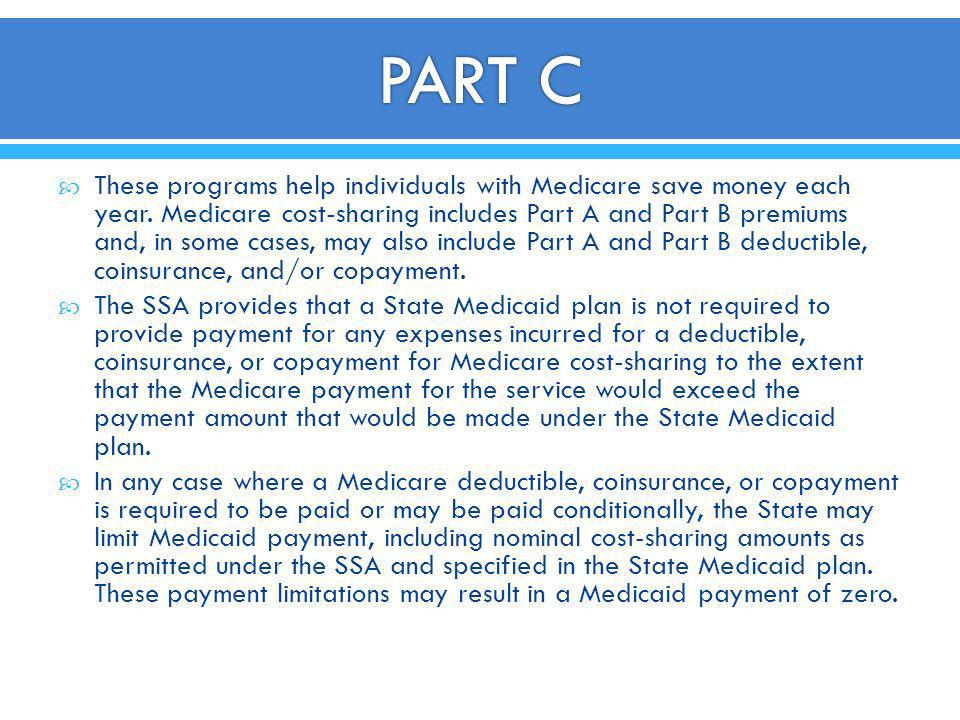 These programs help individuals with Medicare save money each year. Medicare cost-sharing includes Part A and Part B premiums and, in some cases, may
