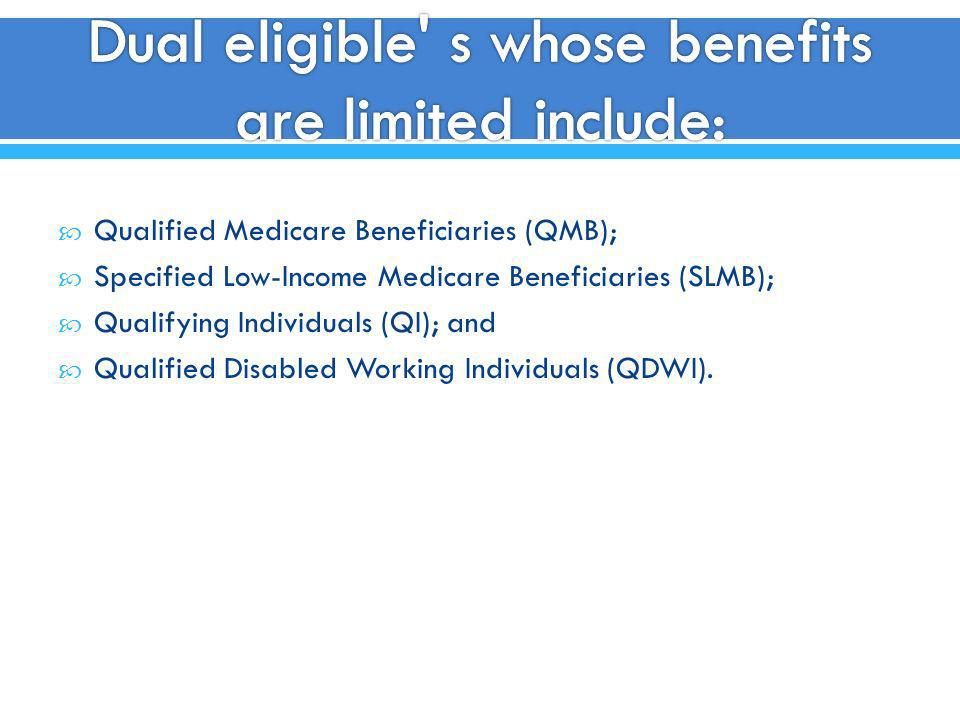 Qualified Medicare Beneficiaries (QMB); Specified Low-Income Medicare Beneficiaries (SLMB); Qualifying Individuals (QI); and Qualified Disabled Workin