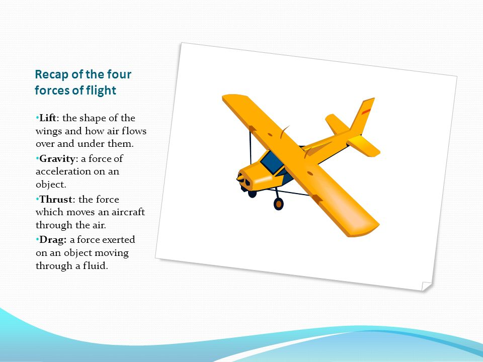Recap of the four forces of flight Lift: the shape of the wings and how air flows over and under them.