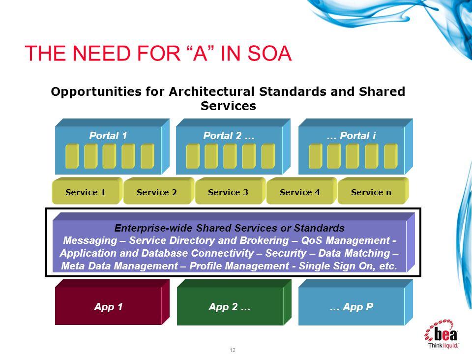 12 App 1 Portal 1 App 2 … Service 1 … App P Portal 2 …… Portal i Service 2Service 3Service 4Service n Enterprise-wide Shared Services or Standards Mes