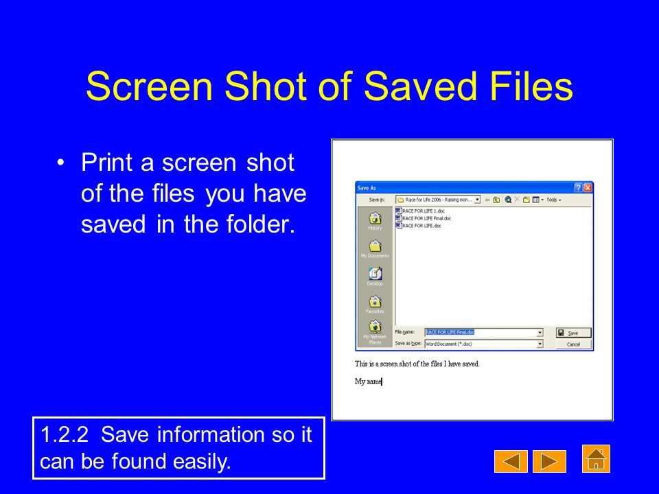 Screen Shot of Saved Files Print a screen shot of the files you have saved in the folder.