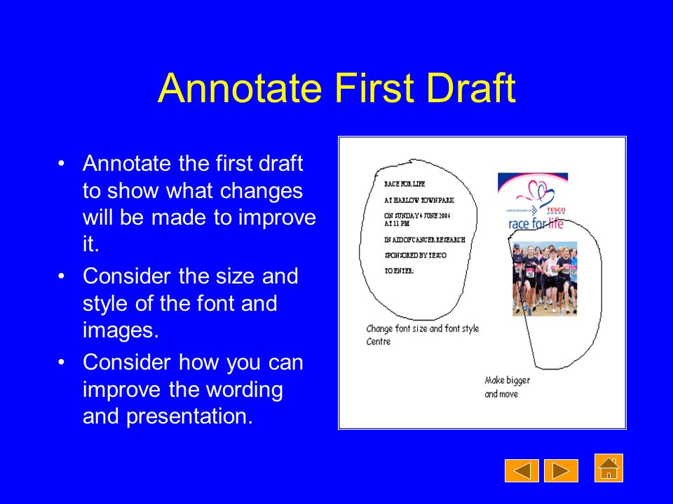 Annotate First Draft Annotate the first draft to show what changes will be made to improve it.