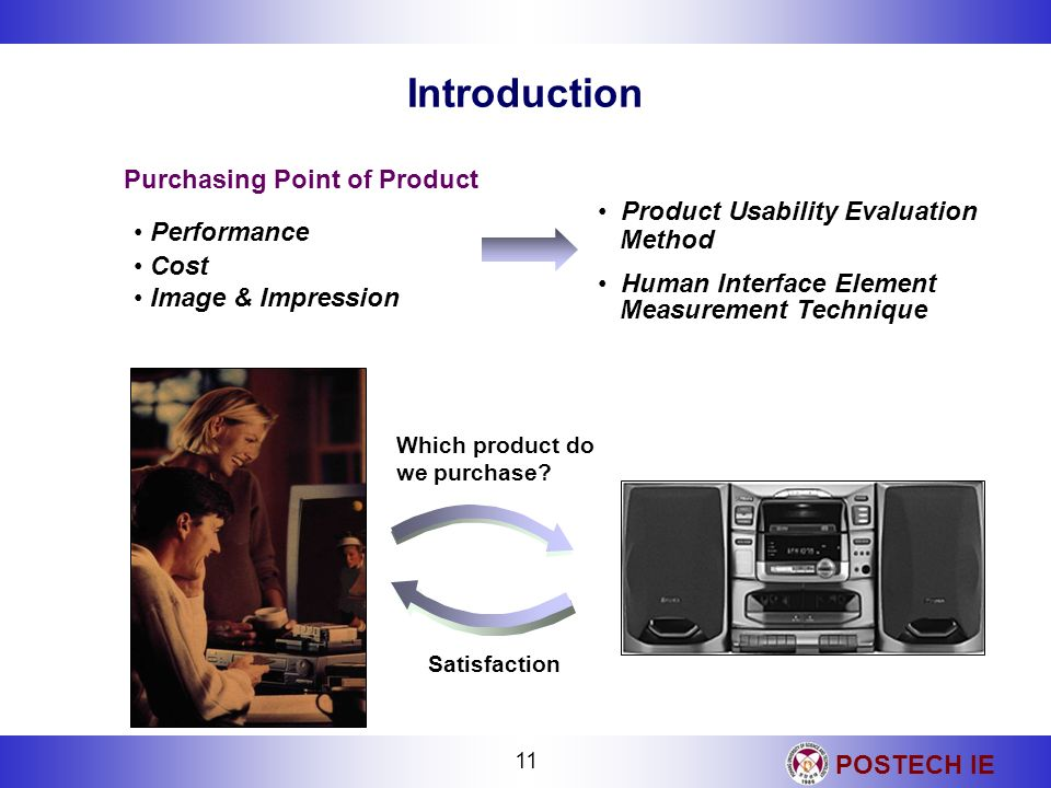 POSTECH IE 11 Which product do we purchase? Satisfaction Performance Cost Image & Impression Introduction Purchasing Point of Product Product Usabilit