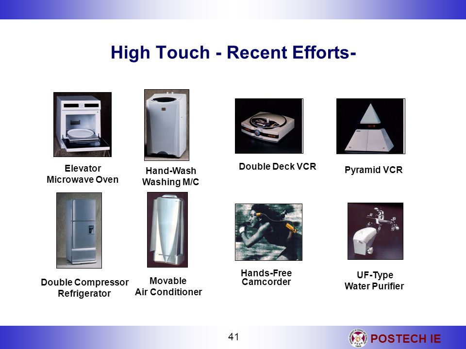 POSTECH IE 41 High Touch - Recent Efforts- Double Deck VCR Hands-Free Camcorder UF-Type Water Purifier Pyramid VCR Double Compressor Refrigerator Mova