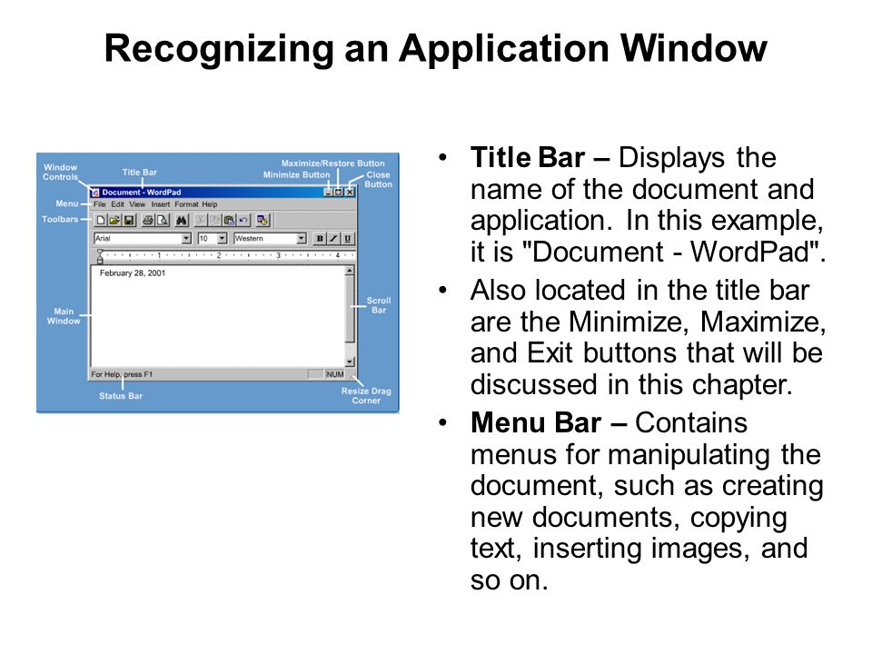 Recognizing an Application Window Title Bar – Displays the name of the document and application. In this example, it is