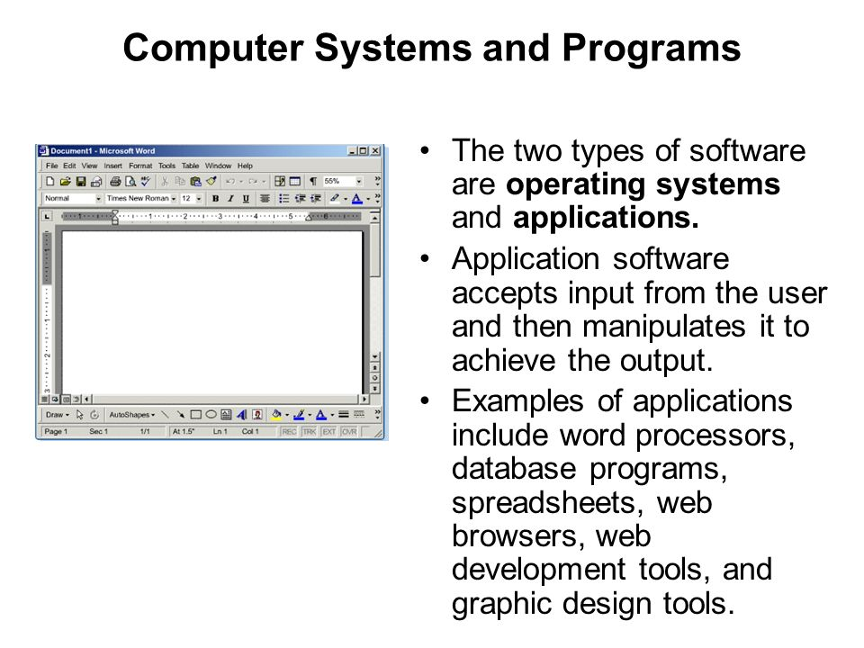 Computer Systems and Programs The two types of software are operating systems and applications. Application software accepts input from the user and t