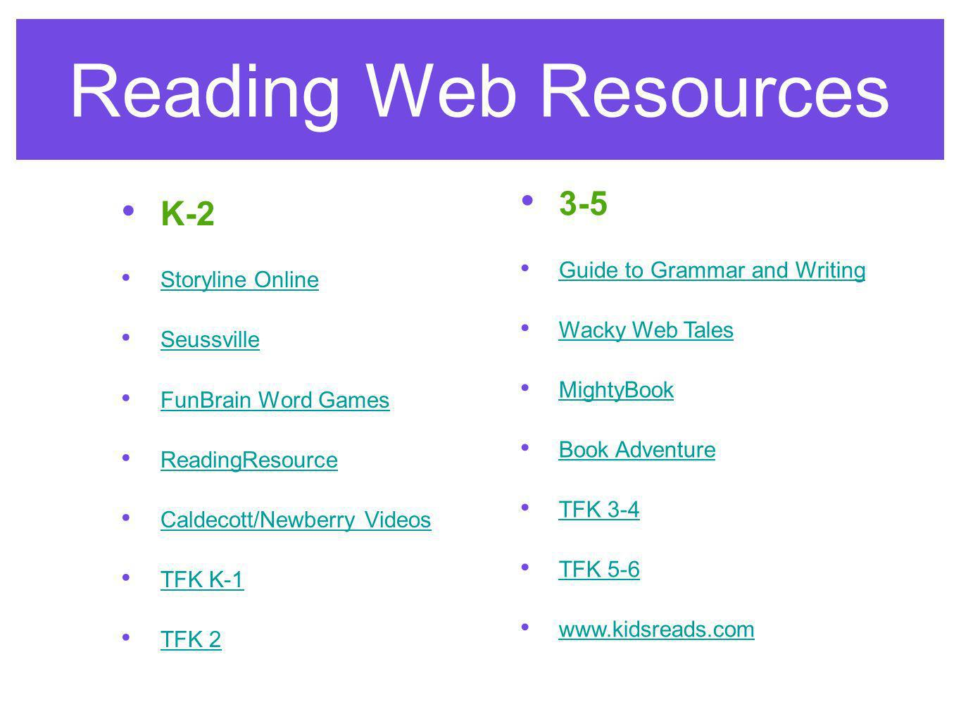 Reading Web Resources K-2 Storyline Online Seussville FunBrain Word Games ReadingResource Caldecott/Newberry Videos TFK K-1 TFK 2 3-5 Guide to Grammar and Writing Wacky Web Tales MightyBook Book Adventureook Adventure TFK 3-4 T TFK 5-6 www.kidsreads.comww.kidsrea