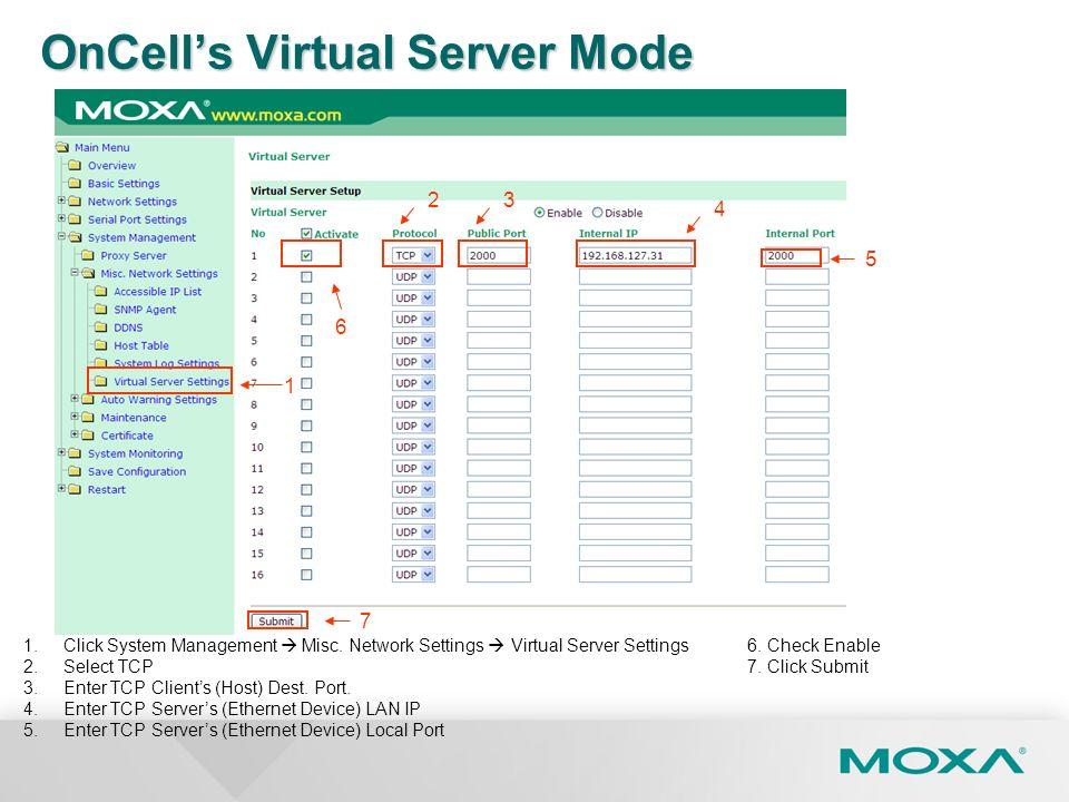 1 4 7 5 1.Click System Management Misc. Network Settings Virtual Server Settings 2.Select TCP 3.Enter TCP Clients (Host) Dest. Port. 4.Enter TCP Serve
