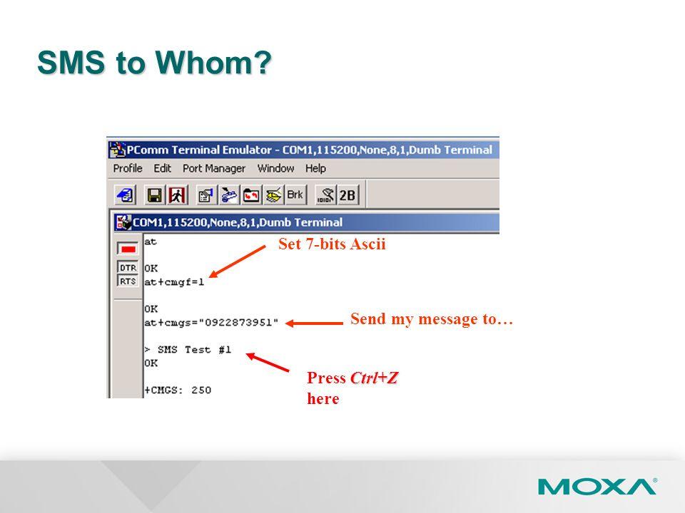 SMS to Whom? Ctrl+Z Press Ctrl+Z here Set 7-bits Ascii Send my message to…