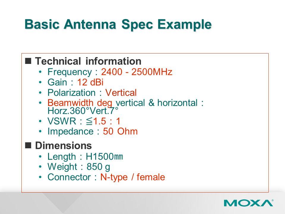 Basic Antenna Spec Example Technical information Frequency 2400 - 2500MHz Gain 12 dBi Polarization Vertical Beamwidth deg vertical & horizontal Horz.3