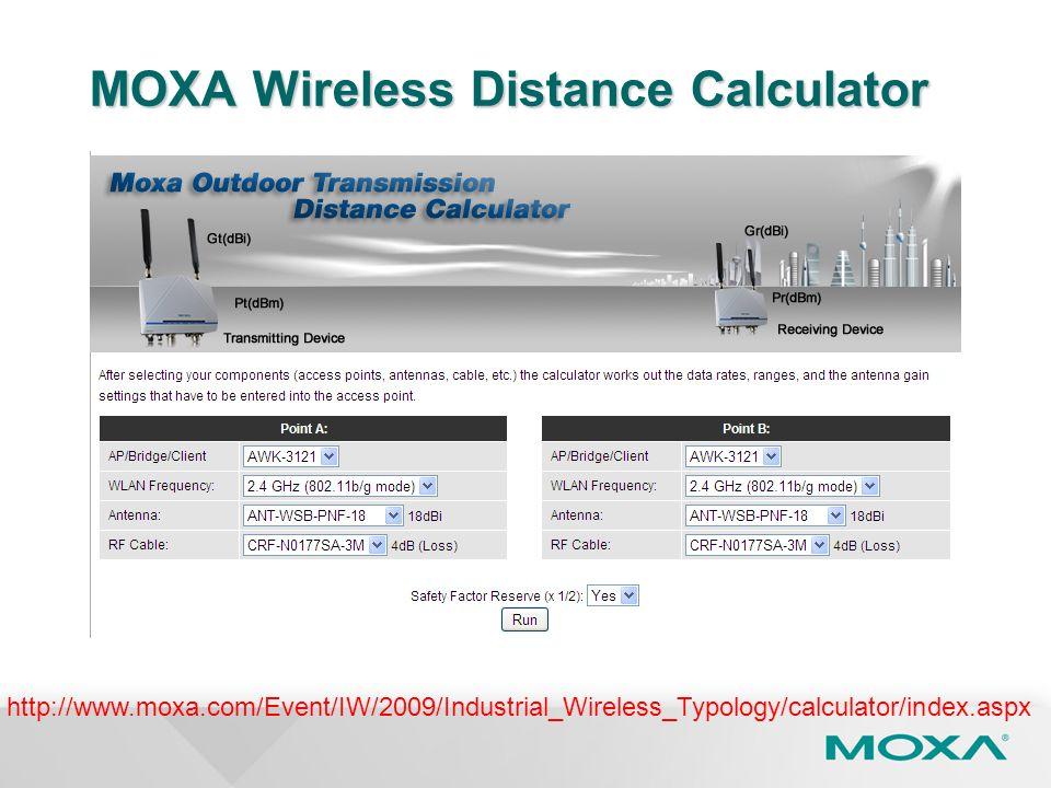 MOXA Wireless Distance Calculator http://www.moxa.com/Event/IW/2009/Industrial_Wireless_Typology/calculator/index.aspx
