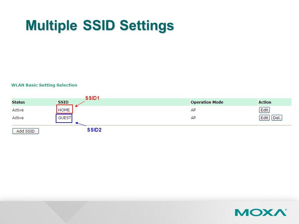 Multiple SSID Settings SSID1 SSID2