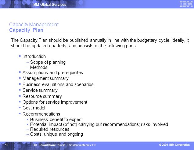 IBM Global Services ITIL Foundation Course | Student material v1.0 © 2004 IBM Corporation 11 Capacity Management Capacity Database Capacity Database (CDB) Data in the CDB is stored and used by all the sub-processes of Capacity Management because it is a repository that holds a number of different types of data: business, service, technical, financial, and utilization data.