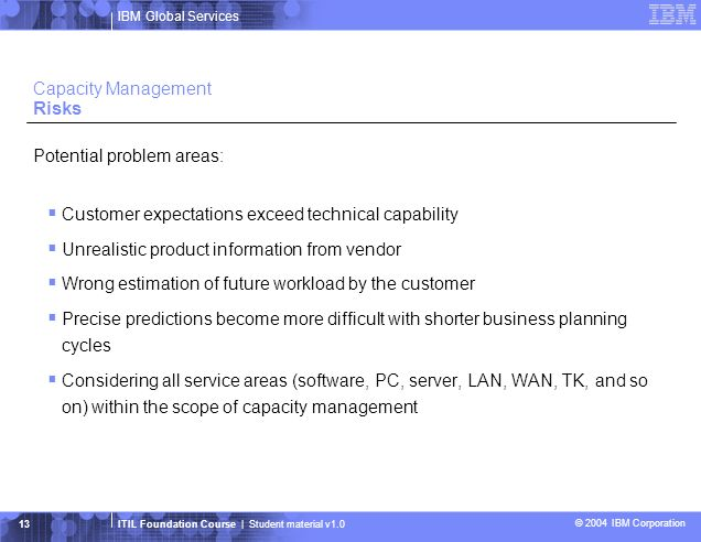 IBM Global Services ITIL Foundation Course | Student material v1.0 © 2004 IBM Corporation 14 Capacity Management Best Practices The Capacity Management process should be reviewed for effectiveness and efficiency at regular intervals to ensure that: –It is producing the required output at the required times for the appropriate audience –Its activities are cost-effective Critical Success Factors Success in Capacity Management is dependent on a number of factors: –Accurate business forecasts –Knowledge of IT strategy and plans, and that the plans are accurate –An understanding of current and future technologies –An ability to demonstrate cost-effectiveness –Interaction with other effective Service Management processes –An ability to plan and implement the appropriate IT capacity to match business needs