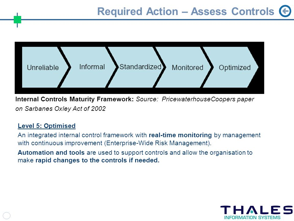 Required Action – Assess Controls Level 5: Optimised An integrated internal control framework with real-time monitoring by management with continuous improvement (Enterprise-Wide Risk Management).