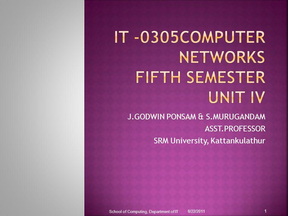 J.GODWIN PONSAM & S.MURUGANDAM ASST.PROFESSOR SRM University, Kattankulathur 8/22/2011 School of Computing, Department of IT 1