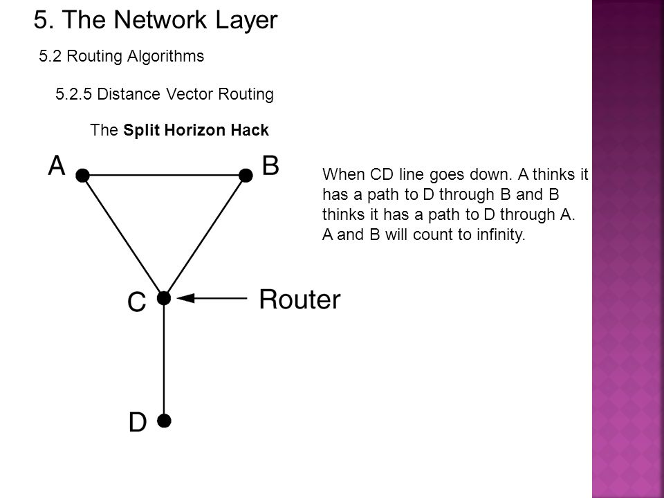 5. The Network Layer 5.2 Routing Algorithms 5.2.5 Distance Vector Routing The Split Horizon Hack When CD line goes down. A thinks it has a path to D t