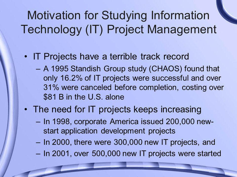 IT Projects have a terrible track record –A 1995 Standish Group study (CHAOS) found that only 16.2% of IT projects were successful and over 31% were canceled before completion, costing over $81 B in the U.S.