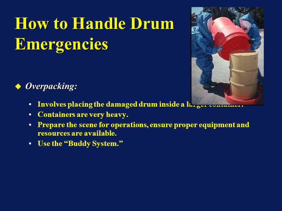 Overpacking: Overpacking: Involves placing the damaged drum inside a larger container.Involves placing the damaged drum inside a larger container.