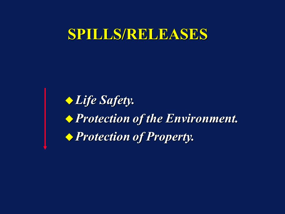 SPILLS/RELEASESSPILLS/RELEASES Life Safety. Life Safety.