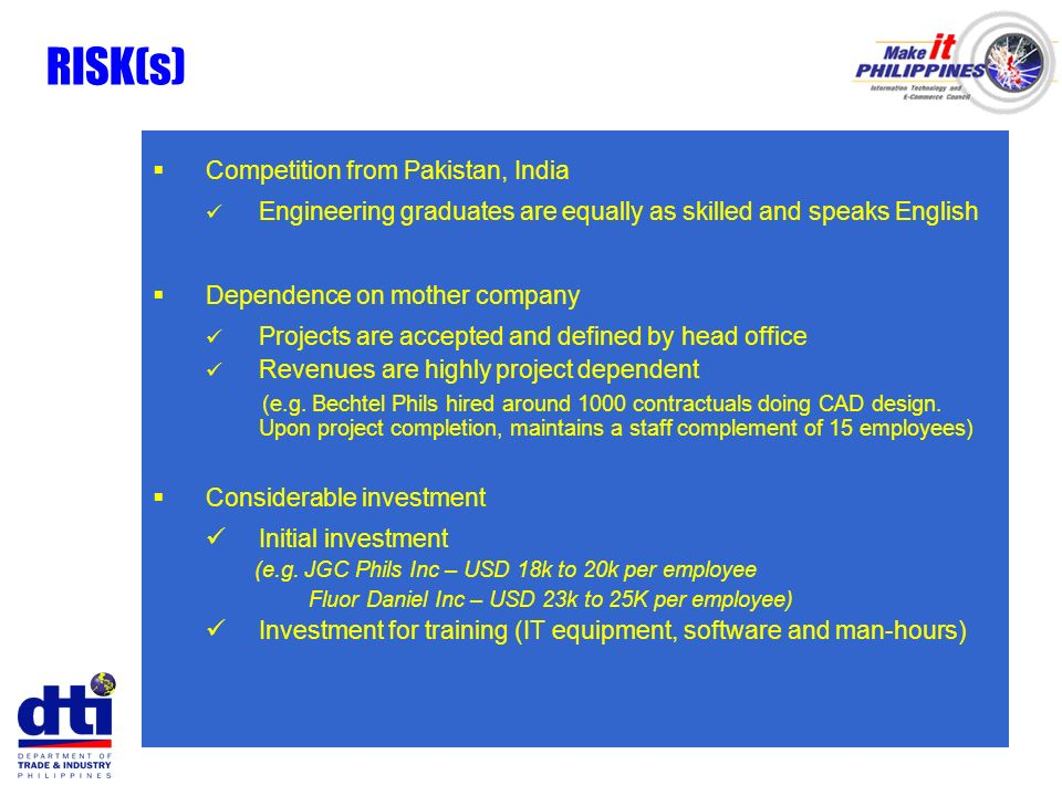 RISK(s) Competition from Pakistan, India Engineering graduates are equally as skilled and speaks English Dependence on mother company Projects are acc