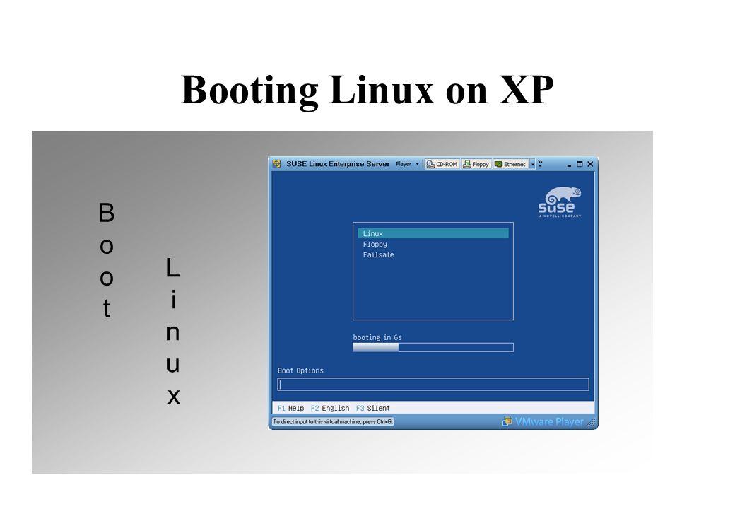 Booting Linux on XP B o o t L i n u x