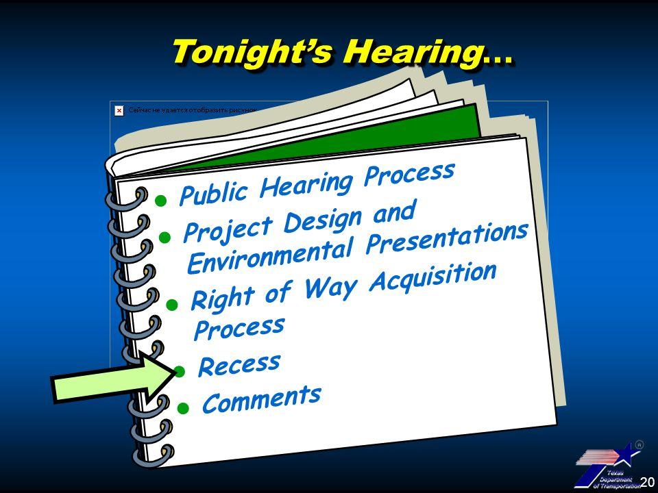 20 Tonights Hearing...
