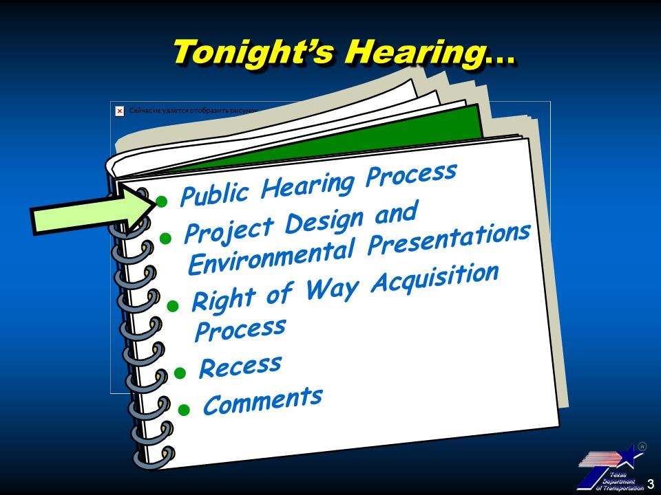 3 Tonights Hearing... Public Hearing Process Project Design and Environmental Presentations Right of Way Acquisition Process Recess Comments
