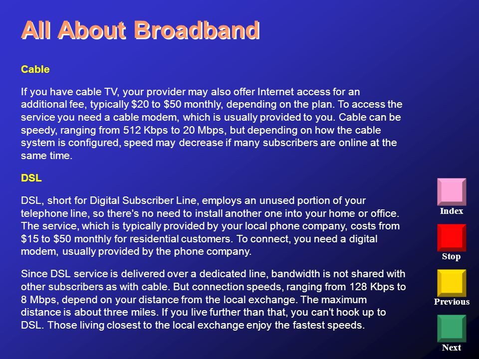 Stop Previous Next Index Cable If you have cable TV, your provider may also offer Internet access for an additional fee, typically $20 to $50 monthly,